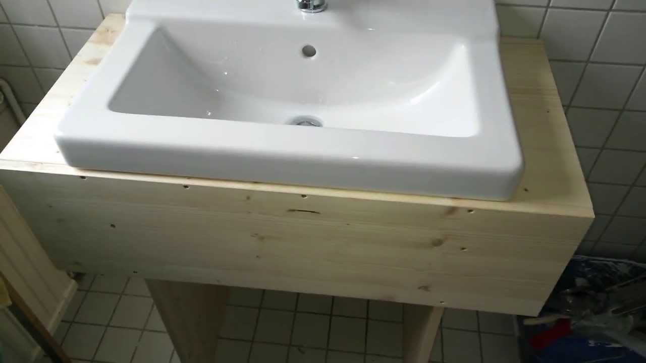 simple DIY wooden sink cabinet - YouTube