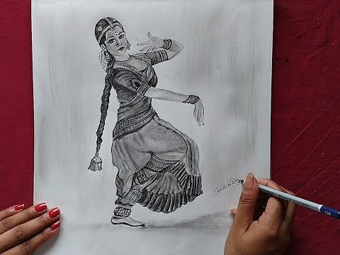How To Draw A Classical Dancer Dancer Pencil Sketch Indian Dancer Drawing Youtube