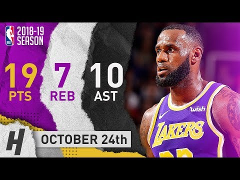LeBron James Full Highlights Lakers vs Suns 2018.10.24 - 19 Pts, 7 Reb, 10 Ast in 3 Qtrs