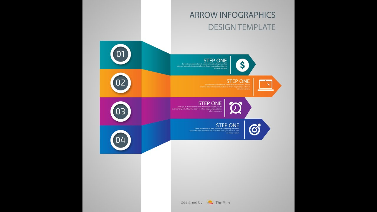 HOW TO MAKE ARROW INFOGRAPHICS DESIGN TEMPLATE IN PHOTOSHOP - YouTube