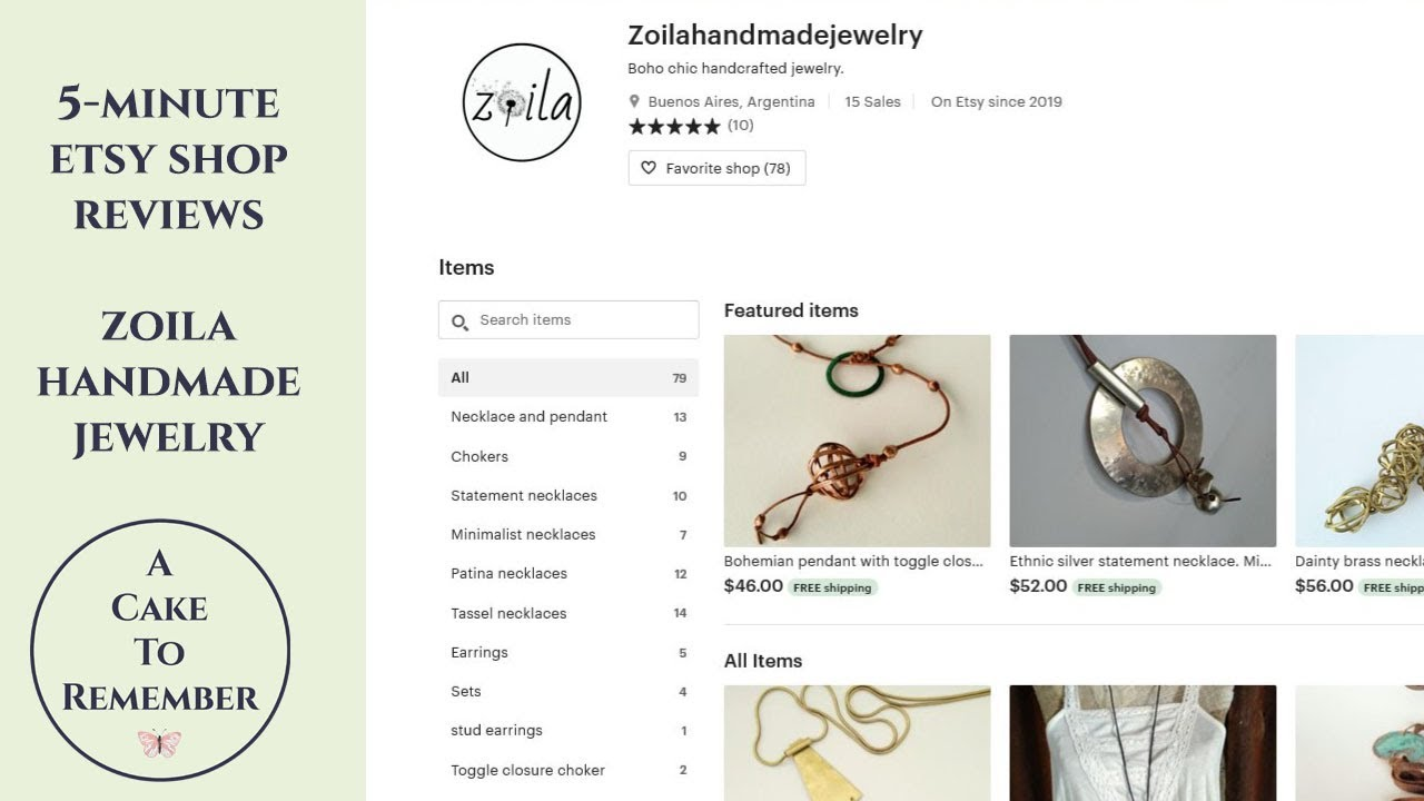5 minute Etsy shop reviews- Zoila Handmade Jewelry Etsy shop critique