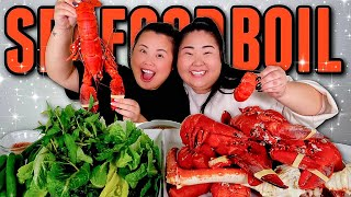 KING CRAB LEGS SEAFOOD BOIL + WHOLE LOBSTER + LOBSTER TAILS + CLAMS MUKBANG 먹방 EATING SHOW!