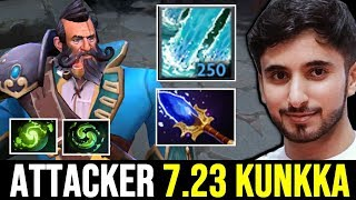 !Attacker First Time 7.23 Kunkka with New Meta Aghanim's Scepter Torrent Storm New IMBA Spell Dota 2