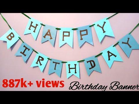 Birthday Banner Diy Birthday Party Decorations Happy Birthday Banner Youtube