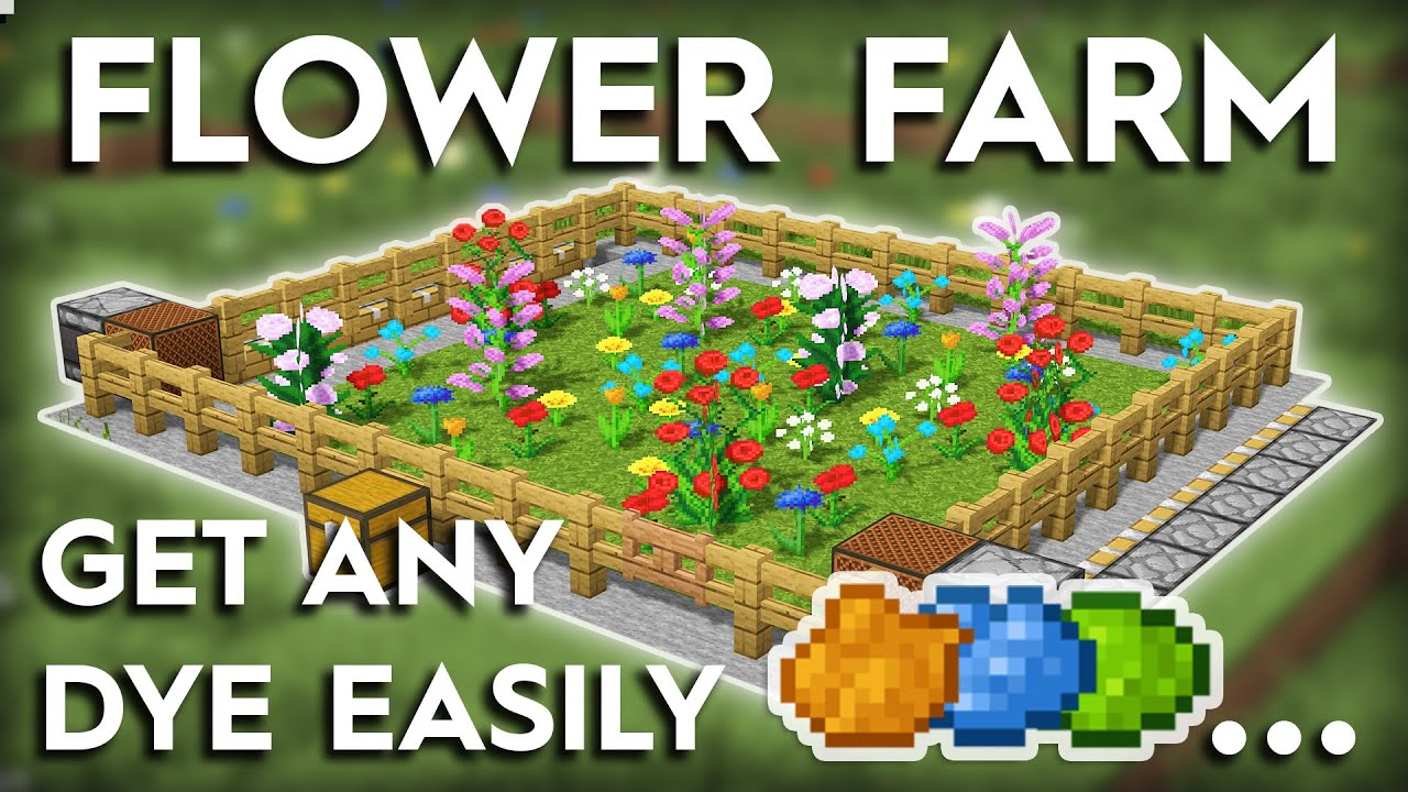 Minecraft Easiest Flower/Dye Farm Tutorial - 8.86/8.85