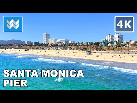 Walking Tour Of Santa Monica Pier In Los Angeles, California USA 2020 🎧  Binaural Sound【4K】