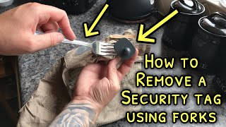 Life Hack: Breaking oḟf security tag with two forks