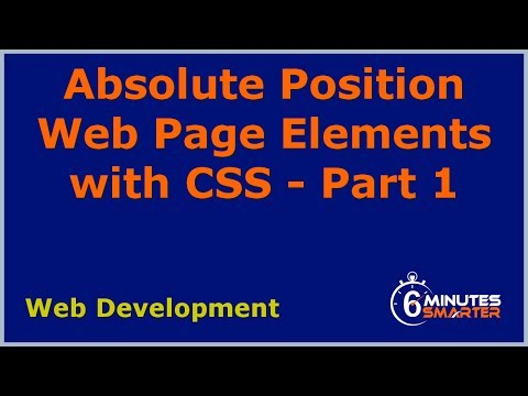 Absolute Position Web Page Elements With CSS - Part 1