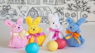 Делаем пасхального кролика из полотенца, упаковка для яйца пасхального.