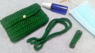 Crochet All in One Face Mask Pouch Hand Sanitizer Pocket Ear Saver and Lanyard For Beginner
