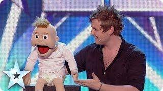 Ventriloquist Sam Jones impresses the Judges with Baby Leo   Britain's Got Talent 2014 thumbnail