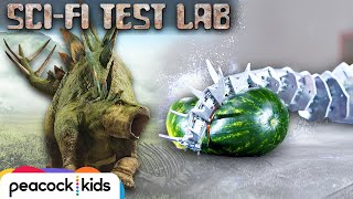Robotic Stegosaurus Tail SMASHES Watermelon | SCI-FI TEST LAB presented by Jurassic World