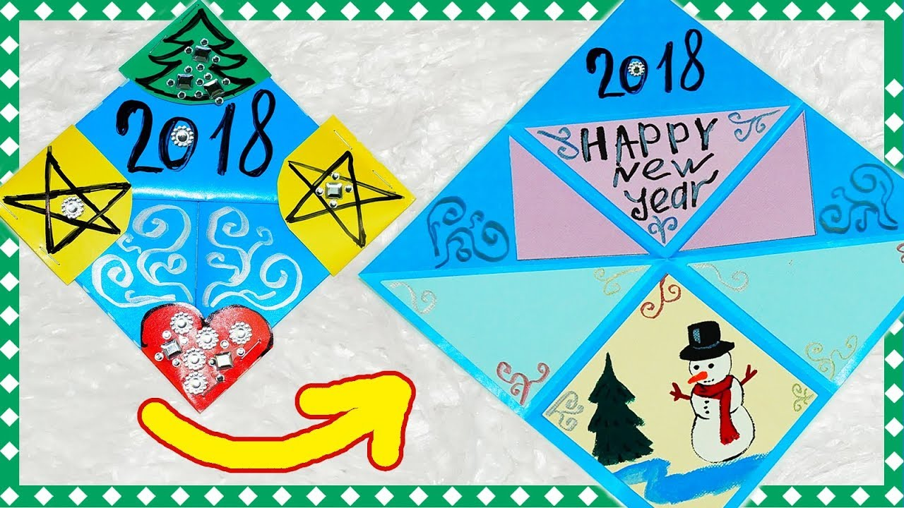 Easy greeting card making ideas | New year card 2018 | How to make