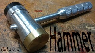 (2/2) Making a Machinists Hammer - Faces and Trim - from aluminum, brass, acetal on the mini lathe