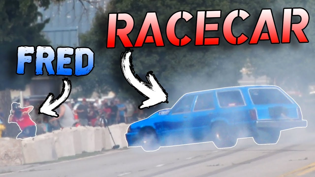 Legal Street Race Goes WRONG! (Car almost hits camera guy!)