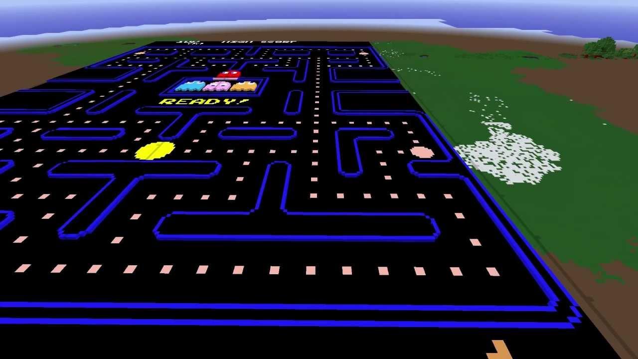 Pac-Man Stage Minecraft Pixel Art - YouTube  Pac-Man Stage M...