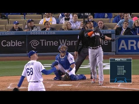 Stanton belts a solo home run to left field