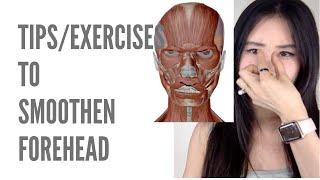 Smoothen forehead| 1. Face shiatsu, 2. train Orbicularis oculi muscles, 3. stop frowning habits, etc
