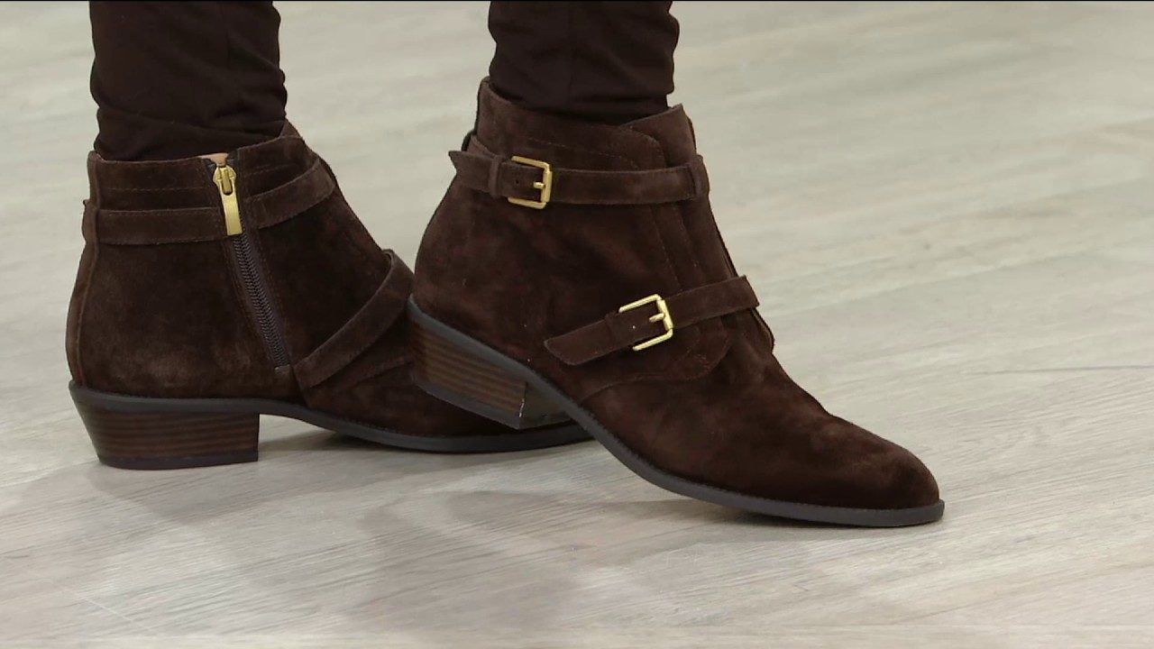 814d70cf5cf Franco Sarto Suede Ankle Boots w  Buckle Detail - Rynn on QVC - YouTube