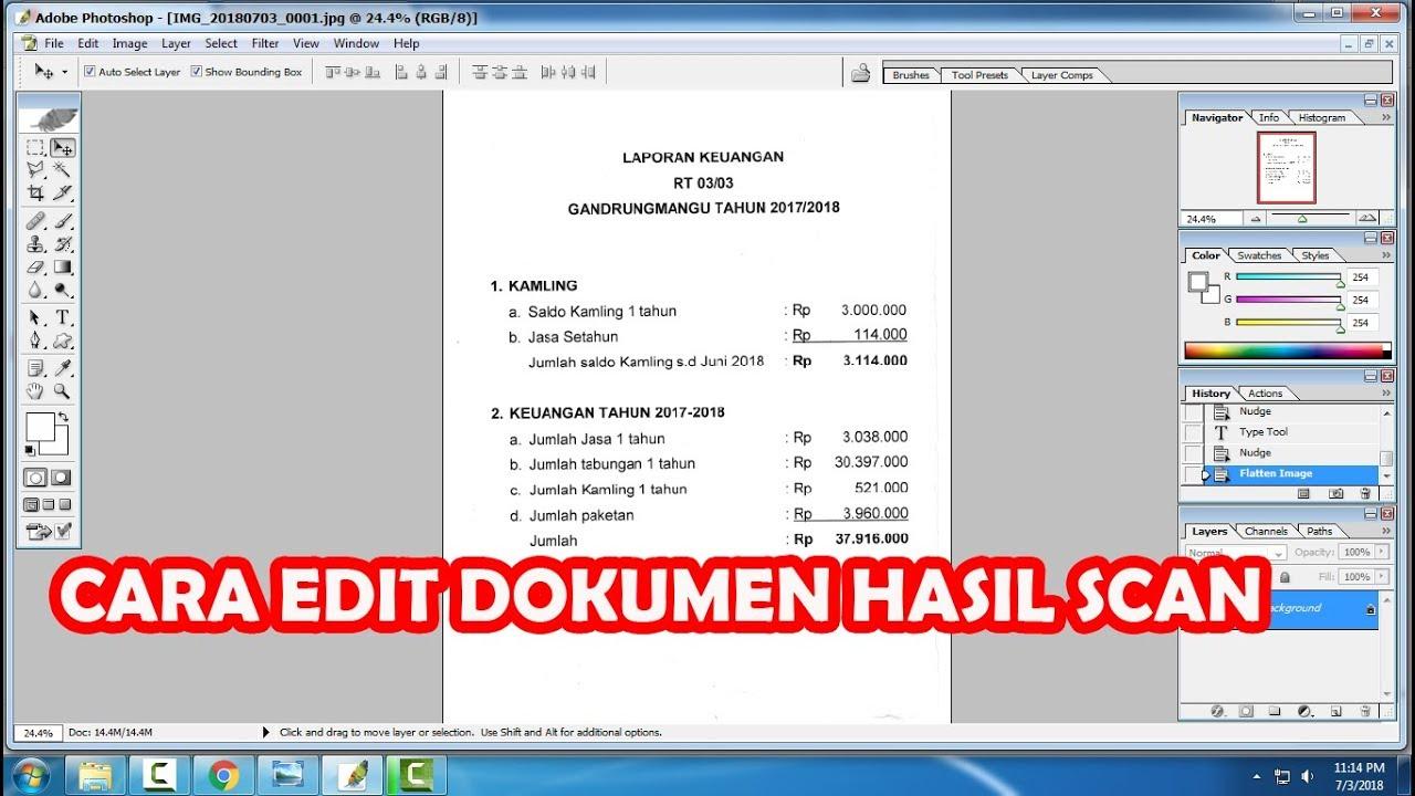 Cara Mudah Mengedit Dokumen Hasil Scan Dengan Photoshop Youtube