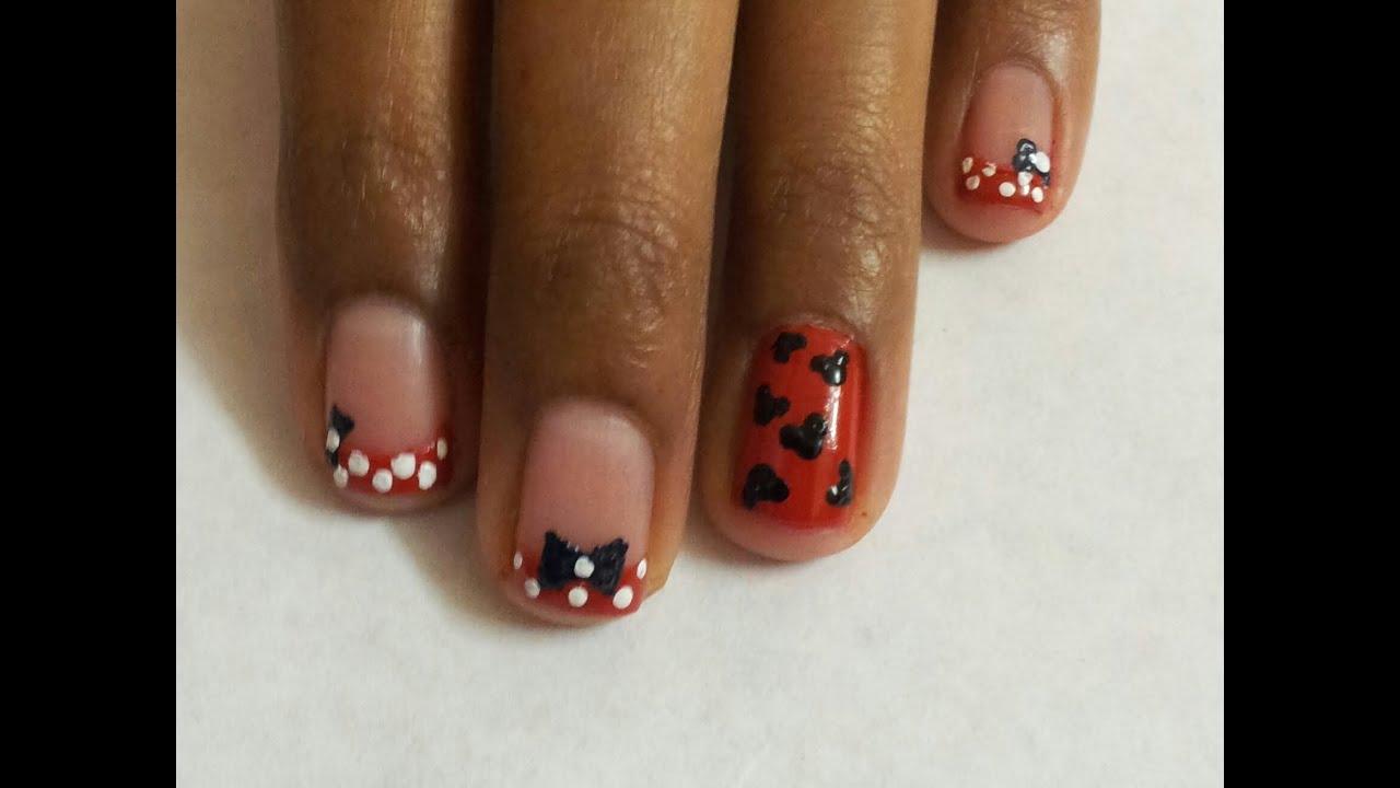 Mickey Minnie Mouse Nail Art Beginners Nail Art Youtube