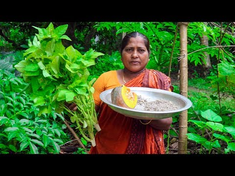 Village Life: Pumpkin, Amaranth Spinach with Shrimp Cooking by Village Food Life
