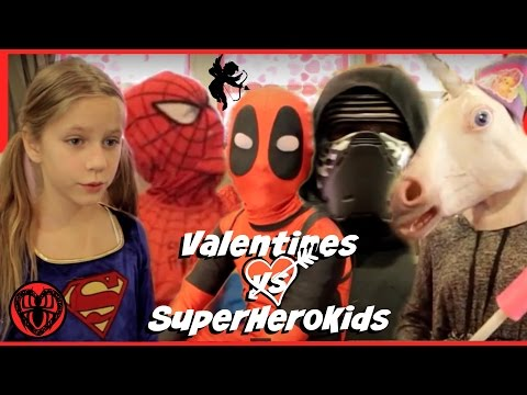 Kid Deadpool Valentines in Real Life Special with Spiderman Supergirl Batman Kylo! | SuperHero Kids