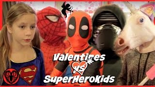 Kid Deadpool Valentines in Real Life Special with Spiderman Supergirl Batman Kylo! | SuperHero Kids