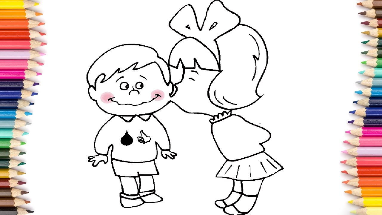 Coloring pages kiss - Coloring Book Love And Kiss How To Coloring Pages Boy And Girl Art Colors For Kids