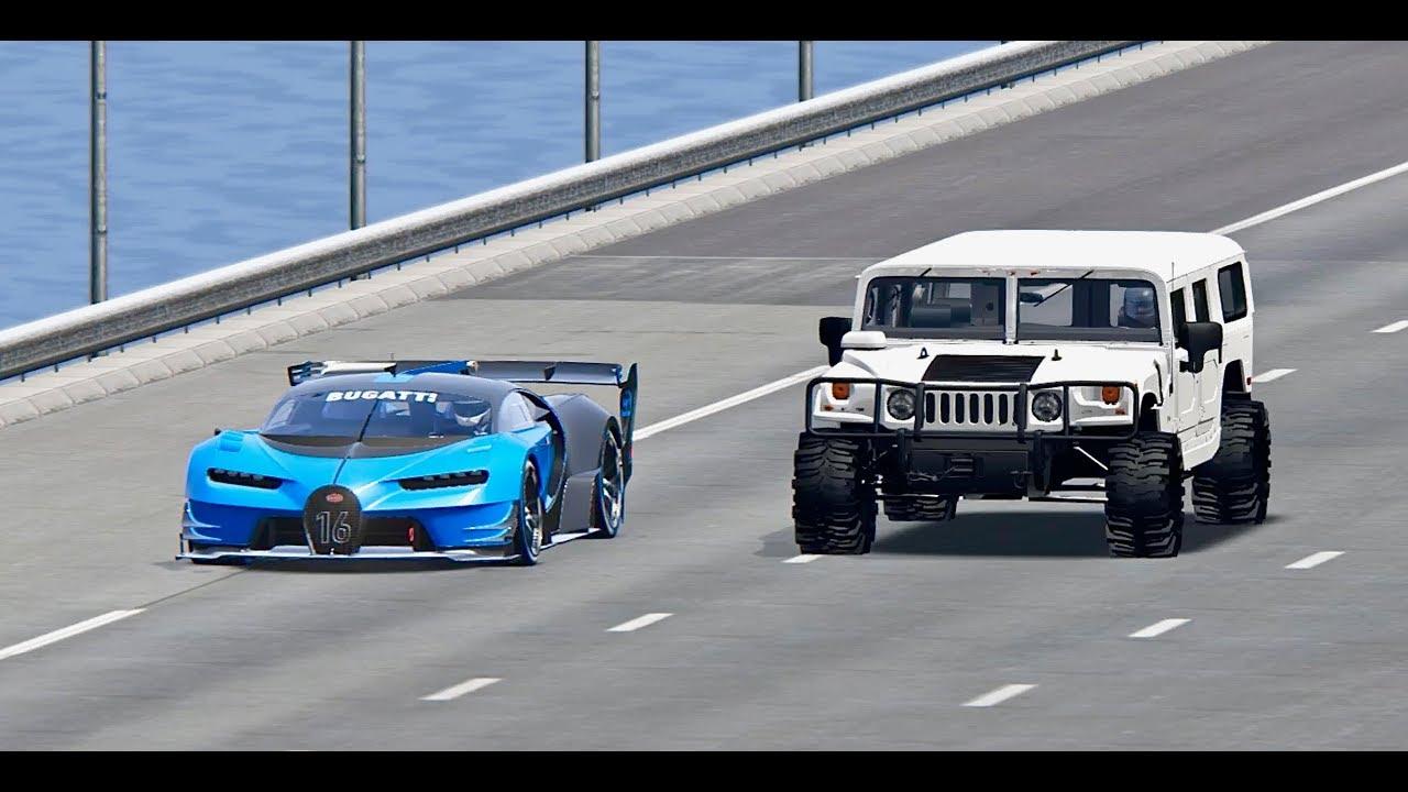bugatti vision gt vs hammer h1 monster - top speed battle - youtube