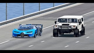 Bugatti Vision GT vs Hammer H1 Monster - TOP SPEED BATTLE