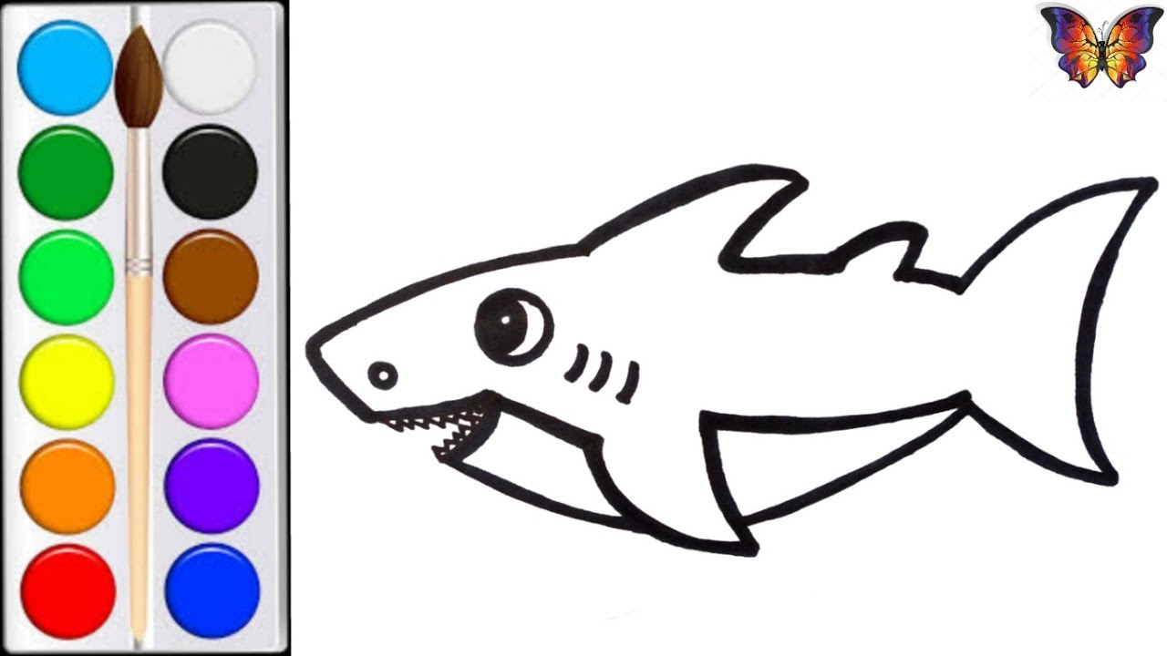 Как нарисовать АКУЛУ / мультик раскраска АКУЛА для детей ...