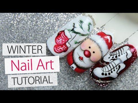Santa Nails - 3 Winter Nail Art Designs Tutorial | Winter 2018 - Lesson Part 11