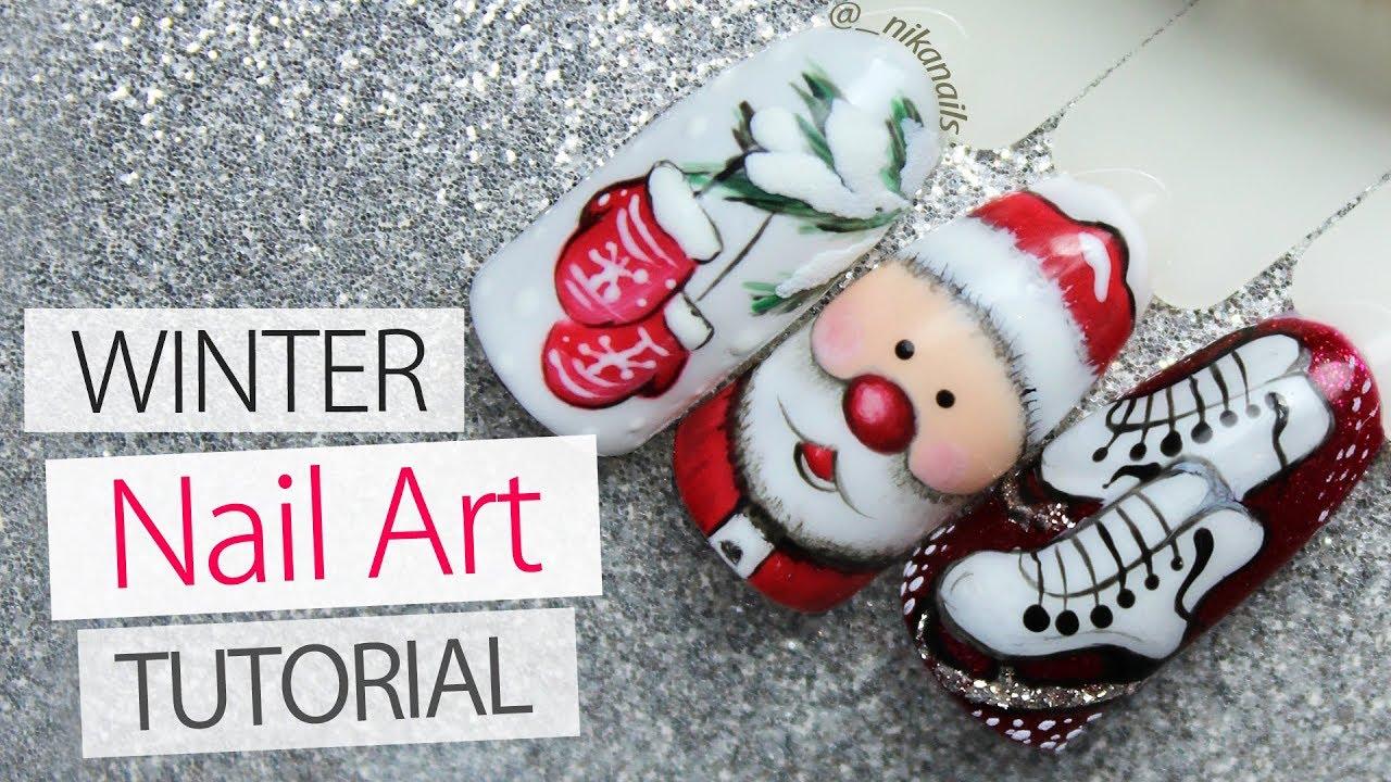 Santa Nails 3 Winter Nail Art Designs Tutorial Winter 2018