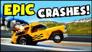 HIGH SPEED LEGO HOT WHEELS CRASHES! Epic Taxi Cab Dragster (Brick Rigs Gameplay)