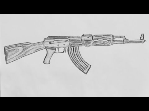 Detailed Drawing Ak47 With Pencil Pubg