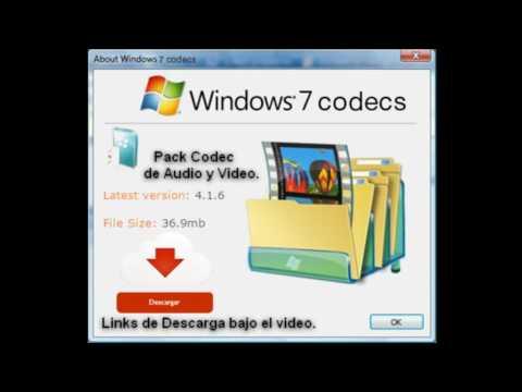 Windows Codec Pack Audio y Video (Solución)