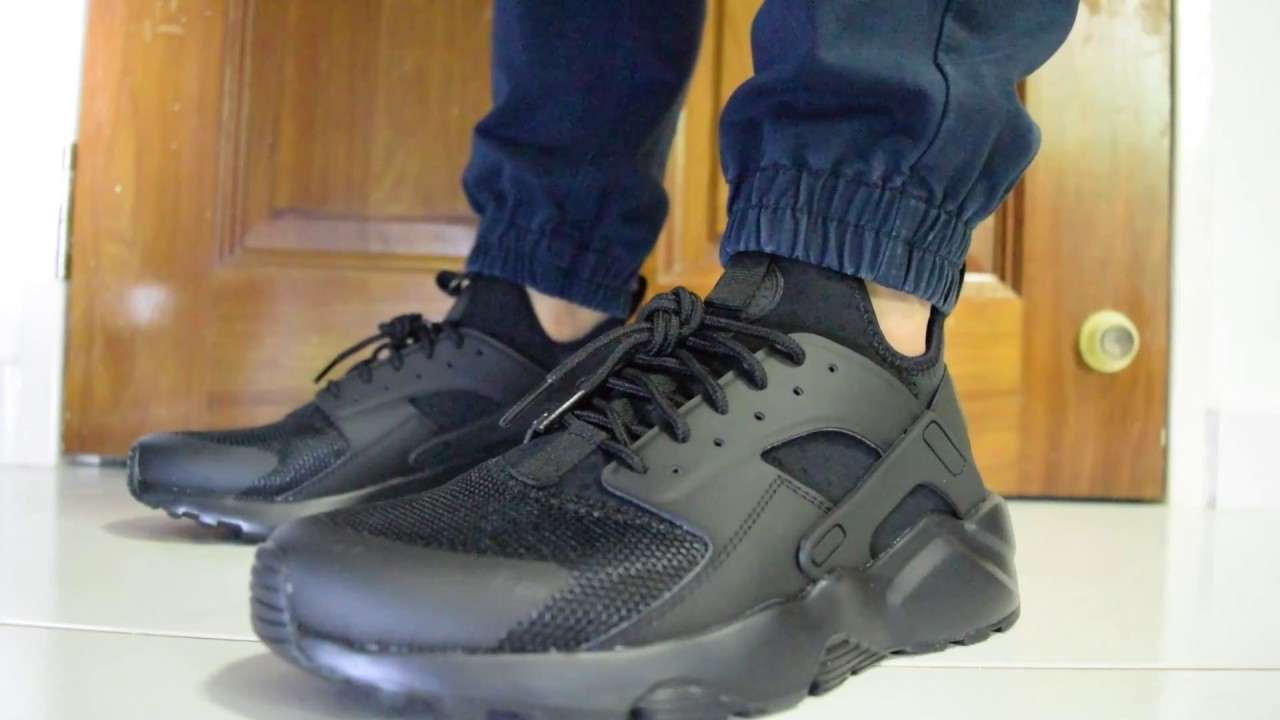 Nike Air Huarache Run Ultra On Feet (Triple Black) - YouTube 99b91552f