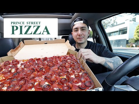 Thank You For 100k! TRYING New York City Famous Prince St. Pizza In LA | Mukbang