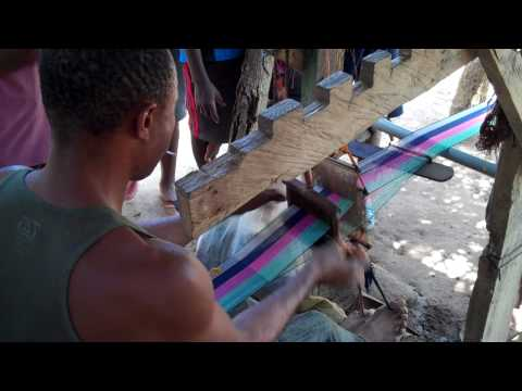 Weaving traditional kente cloth in Accra, Ghana