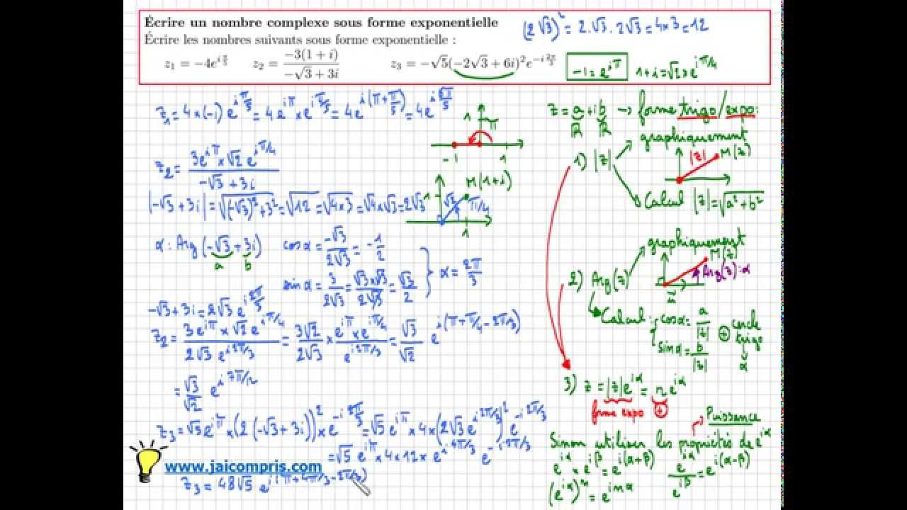 nombre complexe forme exponentielle - Exercice Type Bac - Très IMPORTANT - Terminale S - YouTube