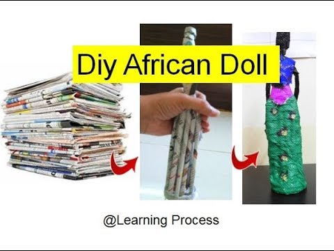 How to Make Newspaper weaved african doll ? Full tutorial | Recycle Newspaper| Learning Process