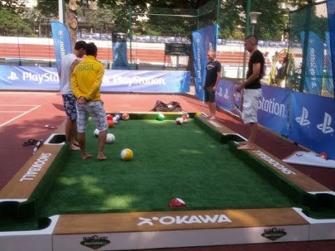 SnookBall A Sport That Lets You Play Billiards With Your Feet - Kickball pool table