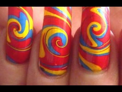Psychedelic Summer Swirl Water Marble Nail Art Design Tutorial