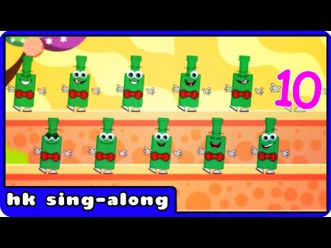Ten green bottles | Nursery Rhymes Songs With Lyrics And Actions By HooplaKidz Sing-A-Long