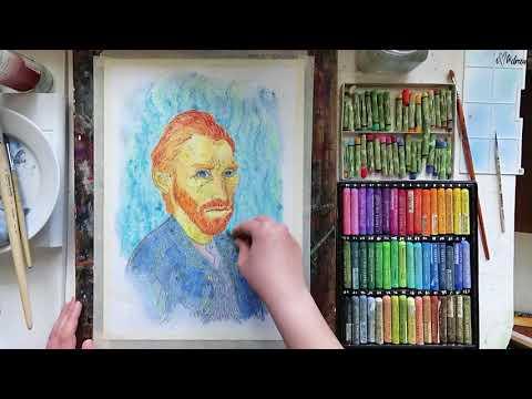 Портрет Ван Гога Масляной пастелью и акварелью