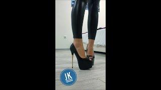 18+ shiny leather leggings and extreme high heels! Big fetish :)