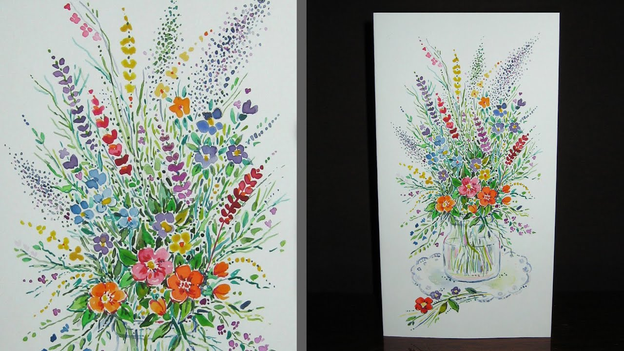 Speed Painting Wildflower Bouquet Greeting Card