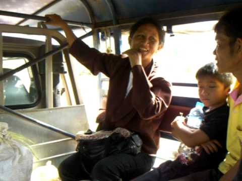 Songthaew ride in central Laos