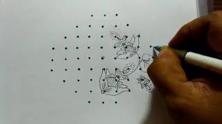 Rangoli designs...simple N easy..diyaas ..lotus...9 to 3 dots